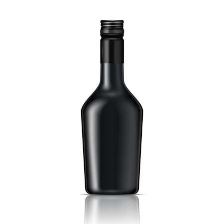 bottle screw: Black glass liqueur bottle with screw cap.. Vector illustration. Glass bottle collection, item 6. Illustration