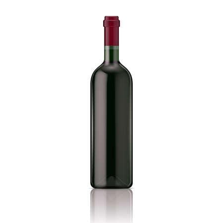 blanc: Glass red wine bottle. Vector illustration. Glass bottle collection. Item 8.