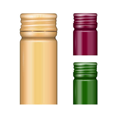 white wine: Screw bottle caps in different colors. Vector illustration. Packaging collection. Stock Photo