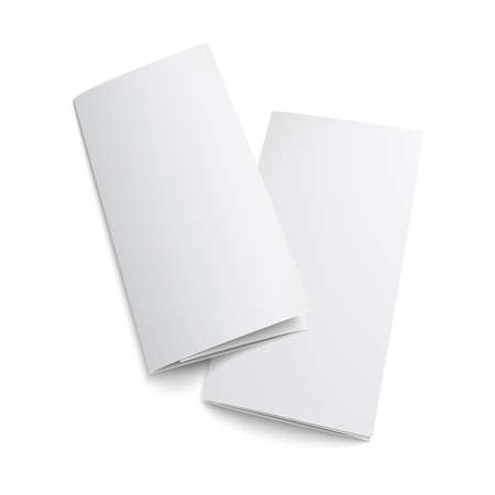 pamphlet: Couple of  blank trifold paper brochure. on white background with soft shadows. Z-folded. Vector illustration.