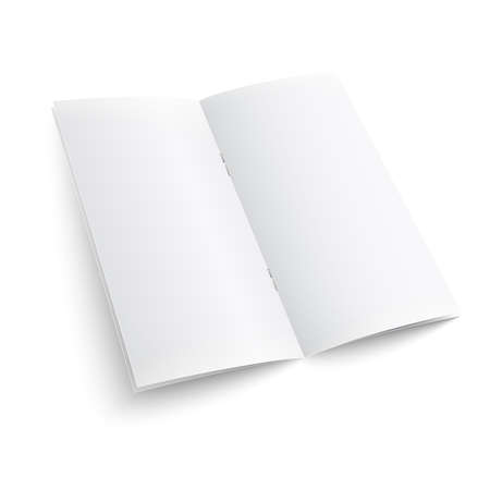 pamphlet: Blank paper brochure with clips. on white background with soft shadows. Vector illustration.  Illustration