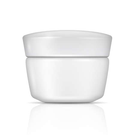 White can for body cream, lotion or gel with lid. Vector illustration. Packaging collection. Illustration