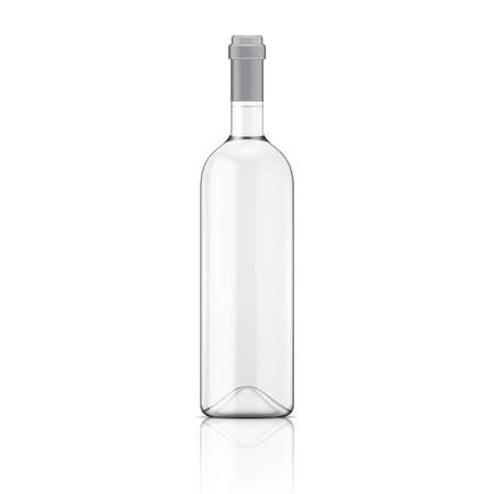 wine bottle: Glass Transparent wine bottle. Vector illustration. Glass bottle collection. Item 9.