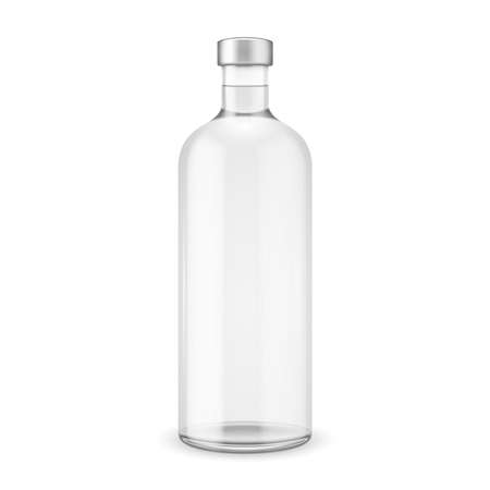 Glass vodka bottle with silver cap. Vector illustration. Glass bottle collection, item 10.