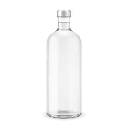 vodka: Glass vodka bottle with silver cap. Vector illustration. Glass bottle collection, item 10. Illustration
