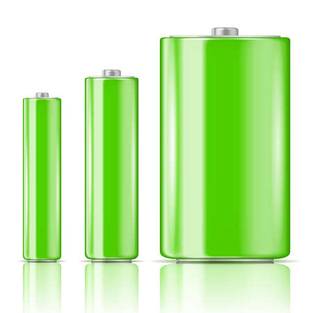 Green battery set, three sizes: AAA, AA, D. Ready for your design. Vector illustration.
