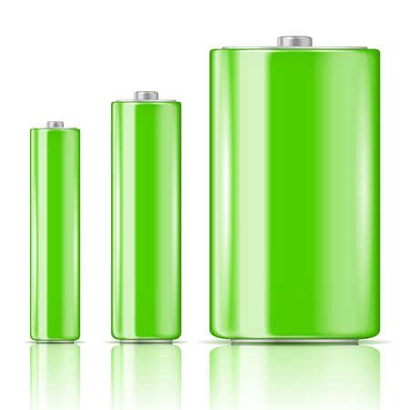 Groene batterij set, drie maten: AAA, AA, D. Klaar voor uw ontwerp. Vector illustratie.
