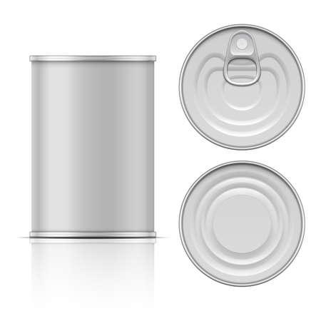 cilindro: Poder de estaño con tirón del anillo: lateral, superior y vista desde abajo. Ilustración del vector. Recogida de envases. Vectores