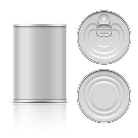 Tin can with ring pull: side, top and bottom view. Vector illustration. Packaging collection.