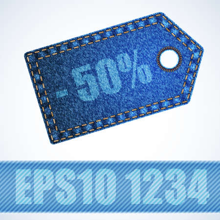 bage: Jeans bage with percent print. vector illustration. Illustration