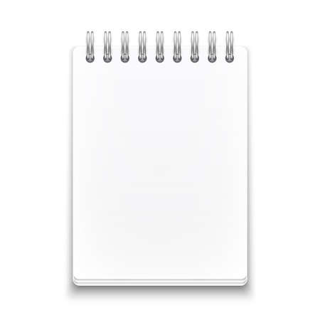 Blank spiral notebook on white background with soft shadows. Vector illustration. Stock Vector - 22968995