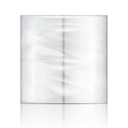 absorb: White toilet paper package with transparent wrapping. Vector illustration. Packaging collection.