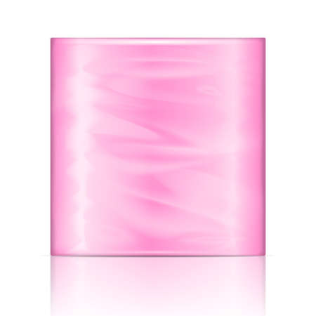 cellulose: Kitchen paper towel package with pink wrapping. Vector illustration. Packaging collection.