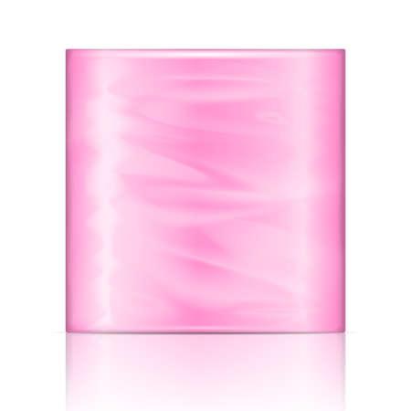 celulosa: Papel de cocina paquete de toallas con el embalaje de color rosa. Ilustración del vector. Recogida de envases. Vectores