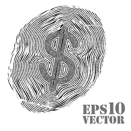 inc: Fingerprint with dollar sign. Vector illustration.