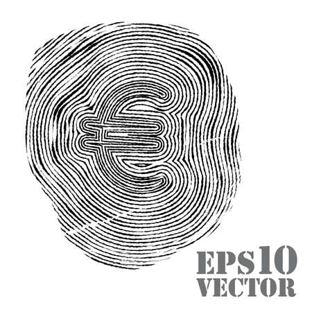 inc: Fingerprint with euro sign. Vector illustration. Illustration