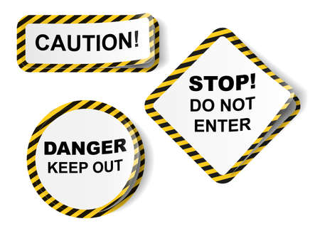 Vector stickers with danger tape, isolated on white Stock Vector - 23196631