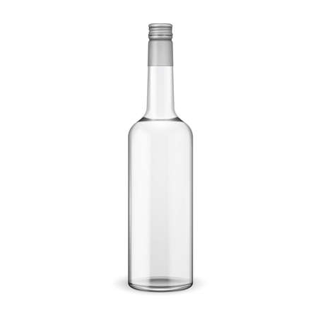crystal clear: Glass vodka bottle with screw cap. Vector illustration. Glass bottle collection, item 11. Illustration