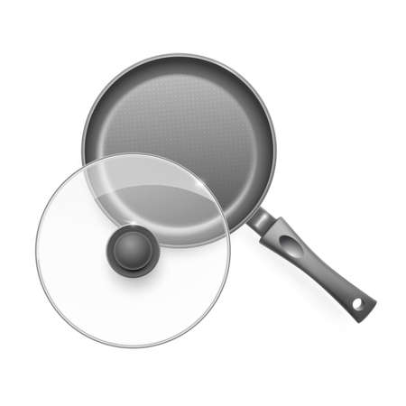 Frying pan with glass lid. Vector illustration.