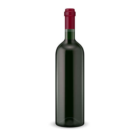 syrah: Glass red wine bottle. Vector illustration. Glass bottle collection. Item 13.