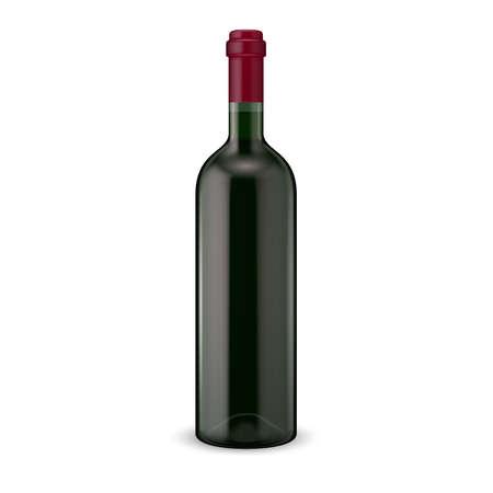aperitif: Glass red wine bottle. Vector illustration. Glass bottle collection. Item 13.