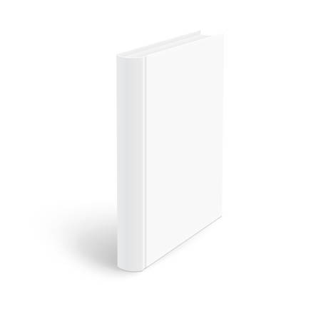 hardcovers: Blank vertical book cover template standing on white surface  Perspective view. Vector illustration.