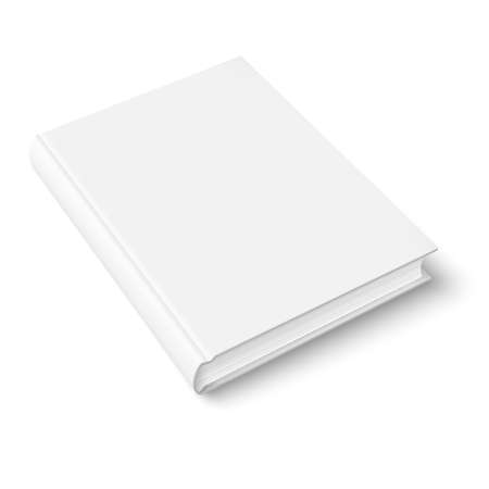 periodical: Blank book cover template on white background with soft shadows. Perspective view. Vector illustration.