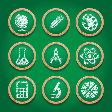 School icon set on chalkboard. Vector illustration. Vector