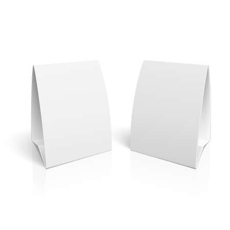 banner stand: Blank paper table cards on white background with reflections.