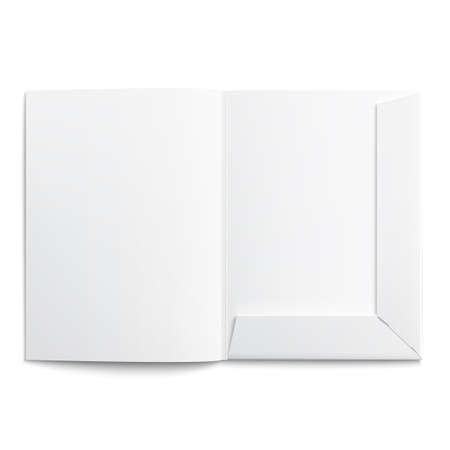 paper case: White empty open folder on white background with soft shadows.  Illustration