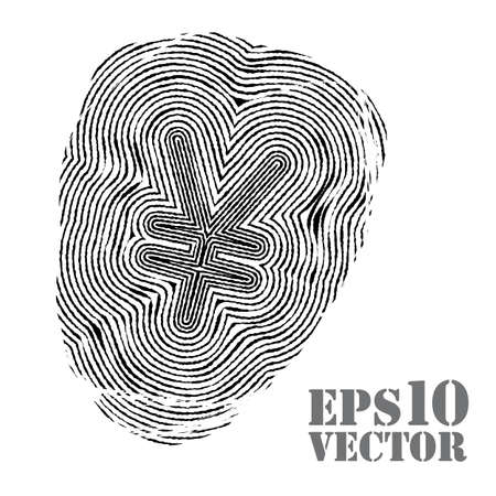 inc: Fingerprint with yen sign. Vector illustration.