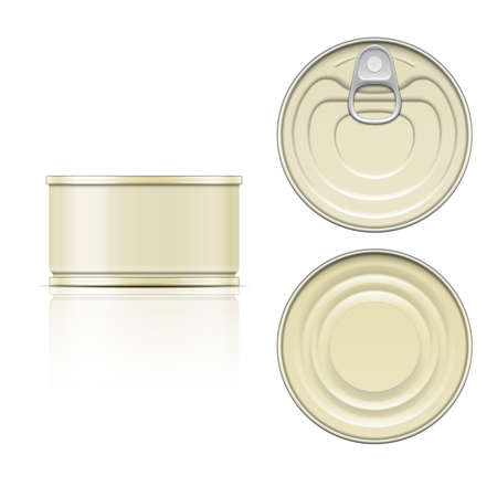 canned: Low tin can with ring pull: side, top and bottom view. Vector illustration. Packaging collection.