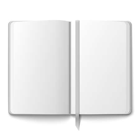 Modello in bianco quaderno aperto con il segnalibro. Illustrazione vettoriale.