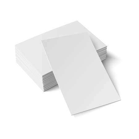 Stack of blank business card with one card in front on white background with soft shadows.