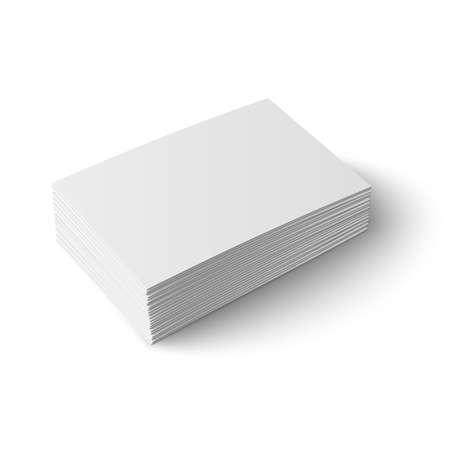 Stack of blank business cardon white background with soft shadows. Vector illustration. EPS10.