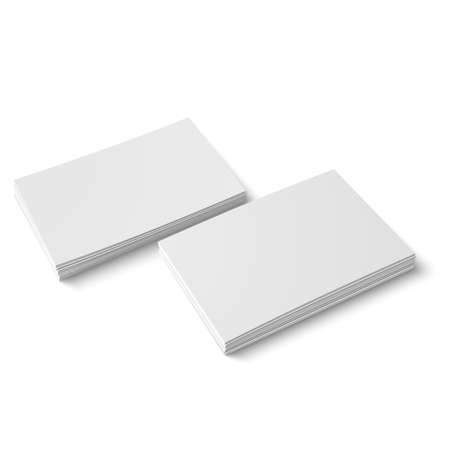 Two stack of blank business cards on white background with soft shadows. Vector illustration. EPS10. Ilustracja