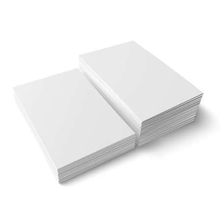 Twee stapels blanco visitekaartjes van verschillende hoogten op een witte achtergrond met zachte schaduwen. Vector illustratie.