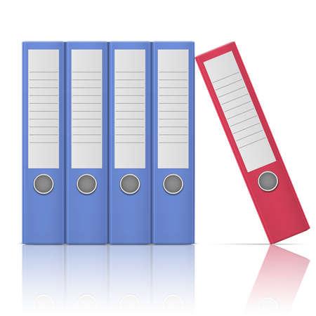 Office バインダーは、5 つの行で、異なる色で、白い背景の上に立っています。