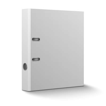 file: Blank closed office binder with metal rings, standing, 3d view, on white background.  Illustration