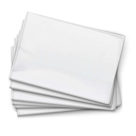 Blanco kranten stapel op witte achtergrond. Bovenaanzicht. Vector illustratie. EPS10.