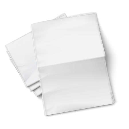흰색 배경에 펼쳐진 한 빈 신문 더미. 상위 뷰입니다. 벡터 일러스트 레이 션. EPS10.
