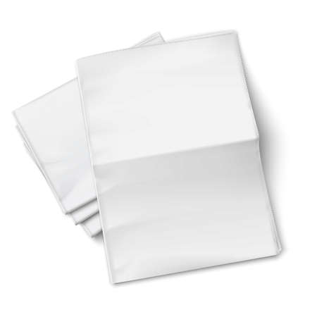 peri�dico: Em branco jornais pilha com uma desdobrado no fundo branco. Vista superior. Ilustra