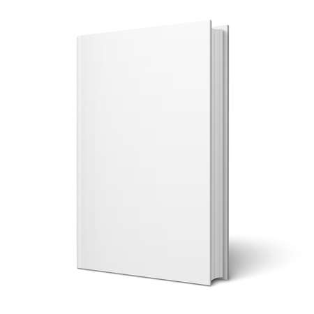 close to: Blank vertical book cover template with pages in front side standing on white surface  Perspective view  Vector illustration