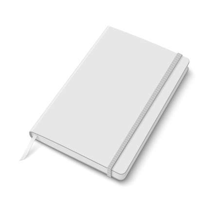 elastic band: Blank white copybook template with elastic band and bookmark  Vector illustration