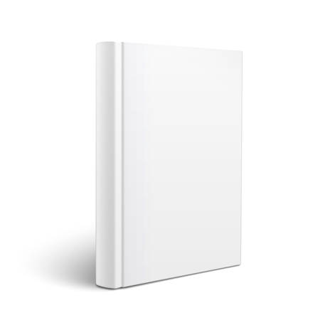 Blank vertical book cover template standing on white surface  Perspective view  Vector illustration  Çizim