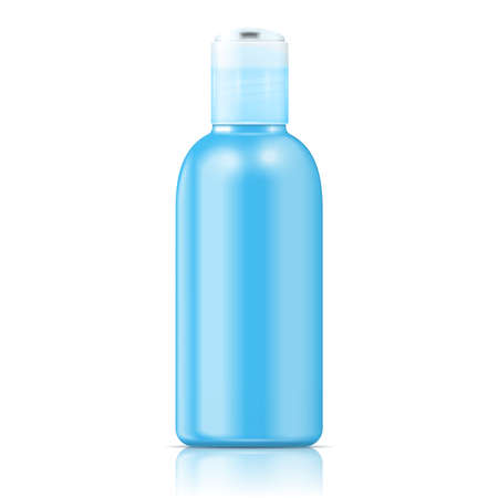 lotion: Blue plastic bottle (cosmo round style) with disc top for cosmetic, lotion, shower gel, body milk, soap.