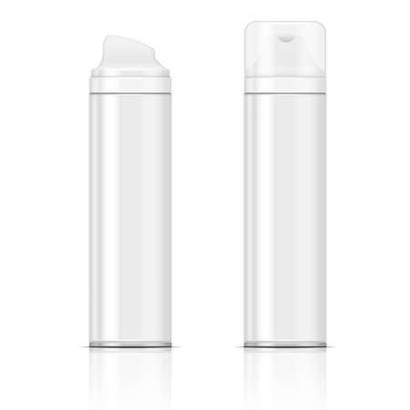 Twee witte scheerschuim of gel flessen. Vector illustratie. Inzameling van verpakkingen.