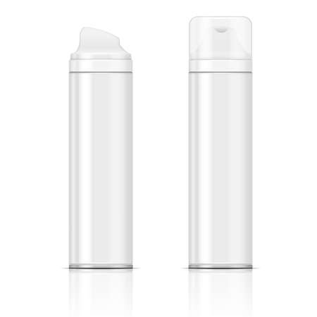 Two white shaving foam or gel bottles. Vector illustration. Packaging collection. Çizim