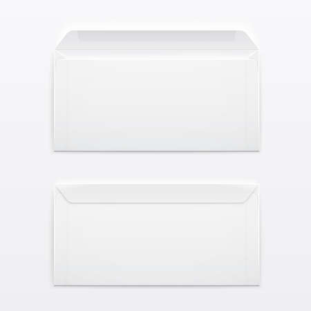 Two blank envelopes - opened an closed,  with soft shadows, on gray background. Vector illustration.  Ilustracja
