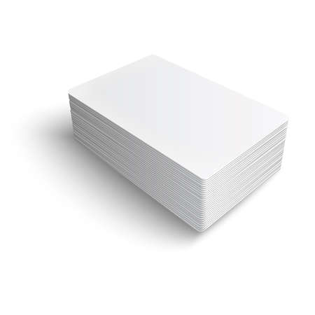 pile of papers: Stack of blank business card on white background with soft shadows.